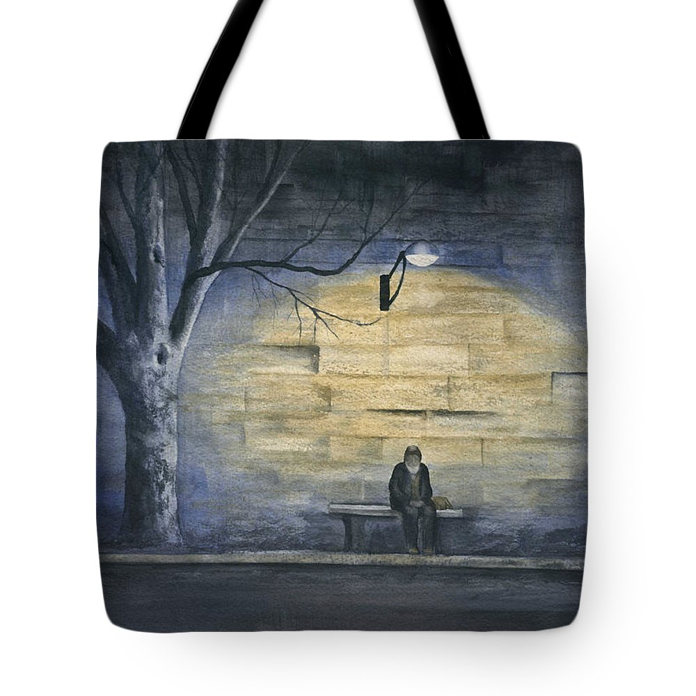 Paris Tote Bag featuring the painting Lonely In Paris by Mary Tuomi