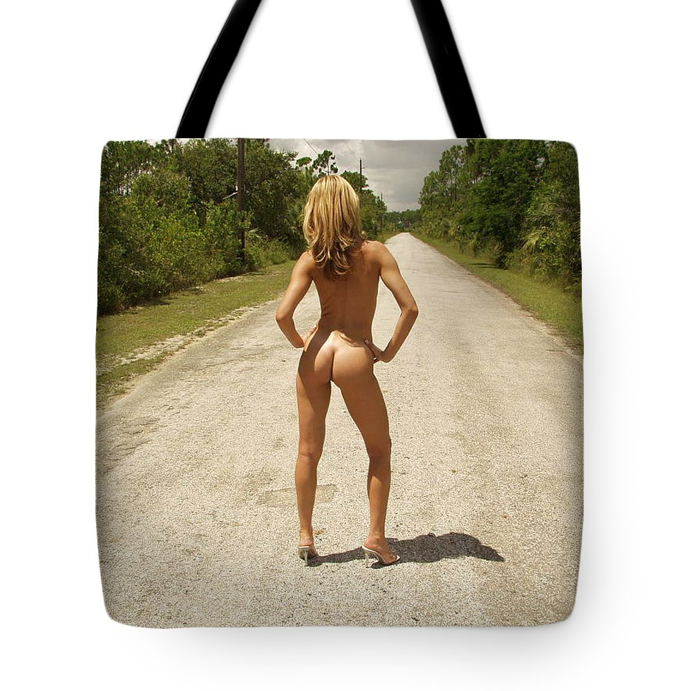Road Work By Lucky Cole Tote Bag featuring the photograph Lonely Road by Lucky Cole