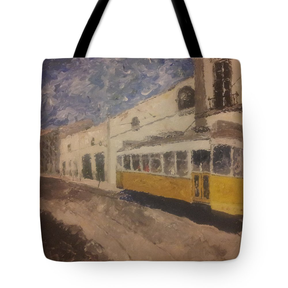Tram Tote Bag featuring the painting Lonelytram by Will Cheng
