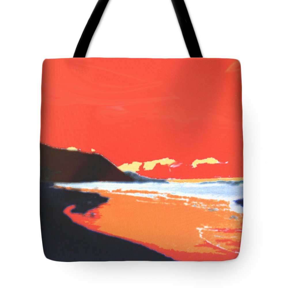 Beach Tote Bag featuring the digital art Long Blue Beach by Ian MacDonald