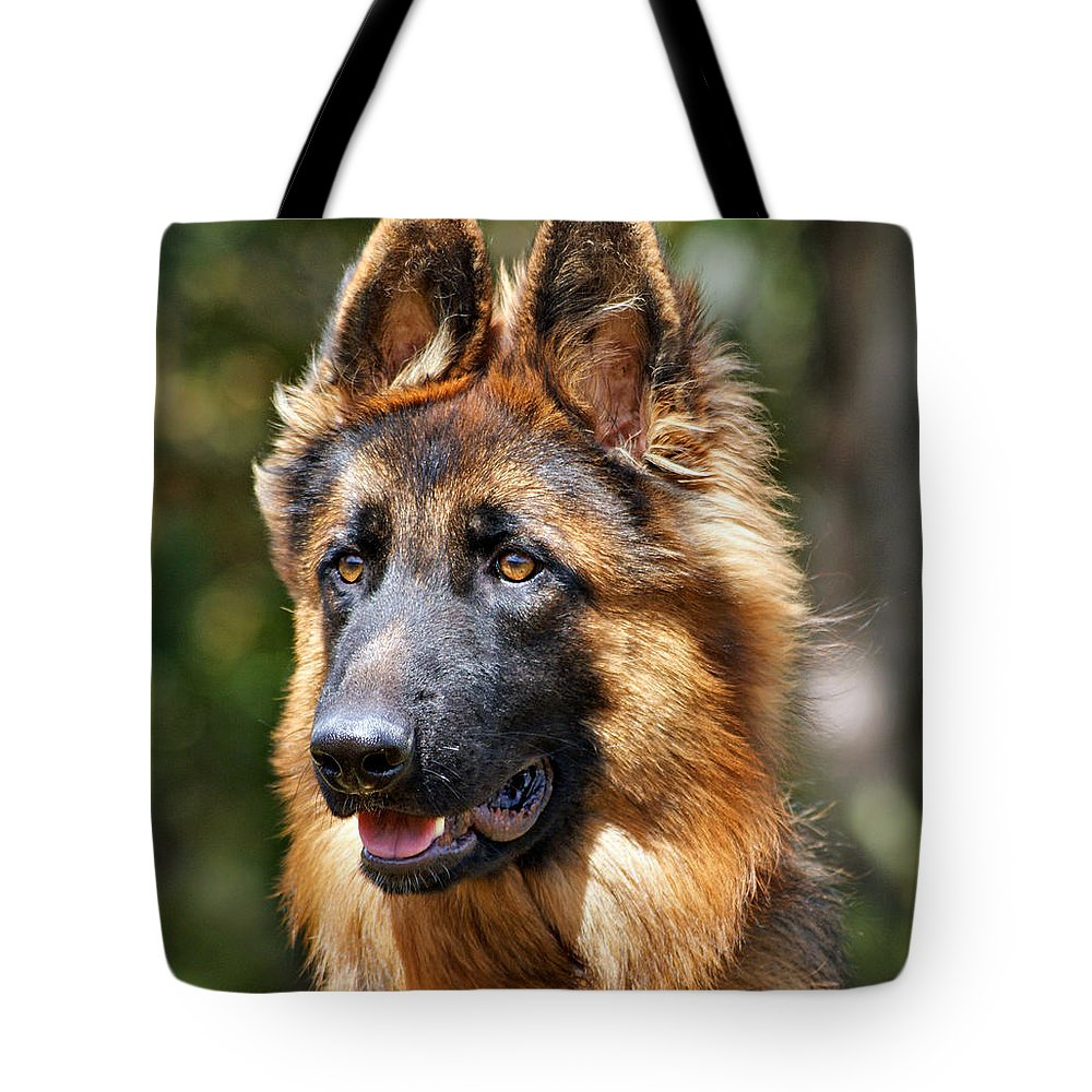 German Shepherd Tote Bag featuring the photograph Long Coated German Shepherd Dog by Sandy Keeton