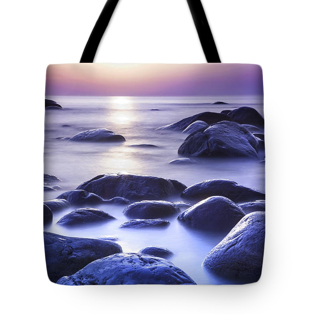 Background Tote Bag featuring the photograph Long Exposure Sea And Rocks In Estonia Baltic Sea by Sandra Rugina