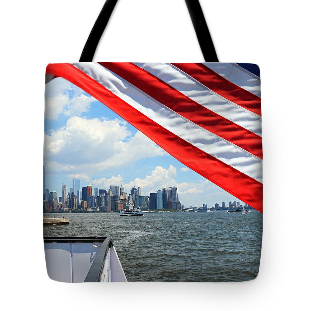 New York Tote Bag featuring the photograph Long May It Wave by Iryna Goodall