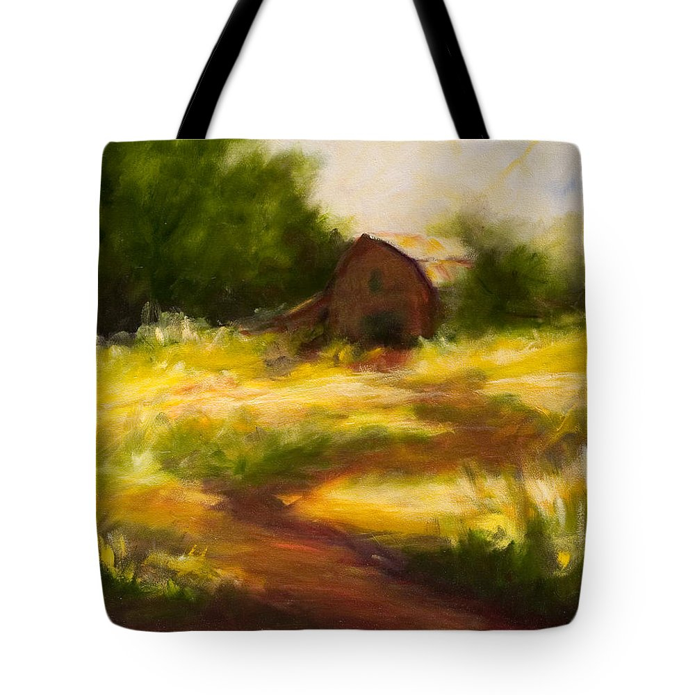 Landscape Tote Bag featuring the painting Long Road Home by Shannon Grissom