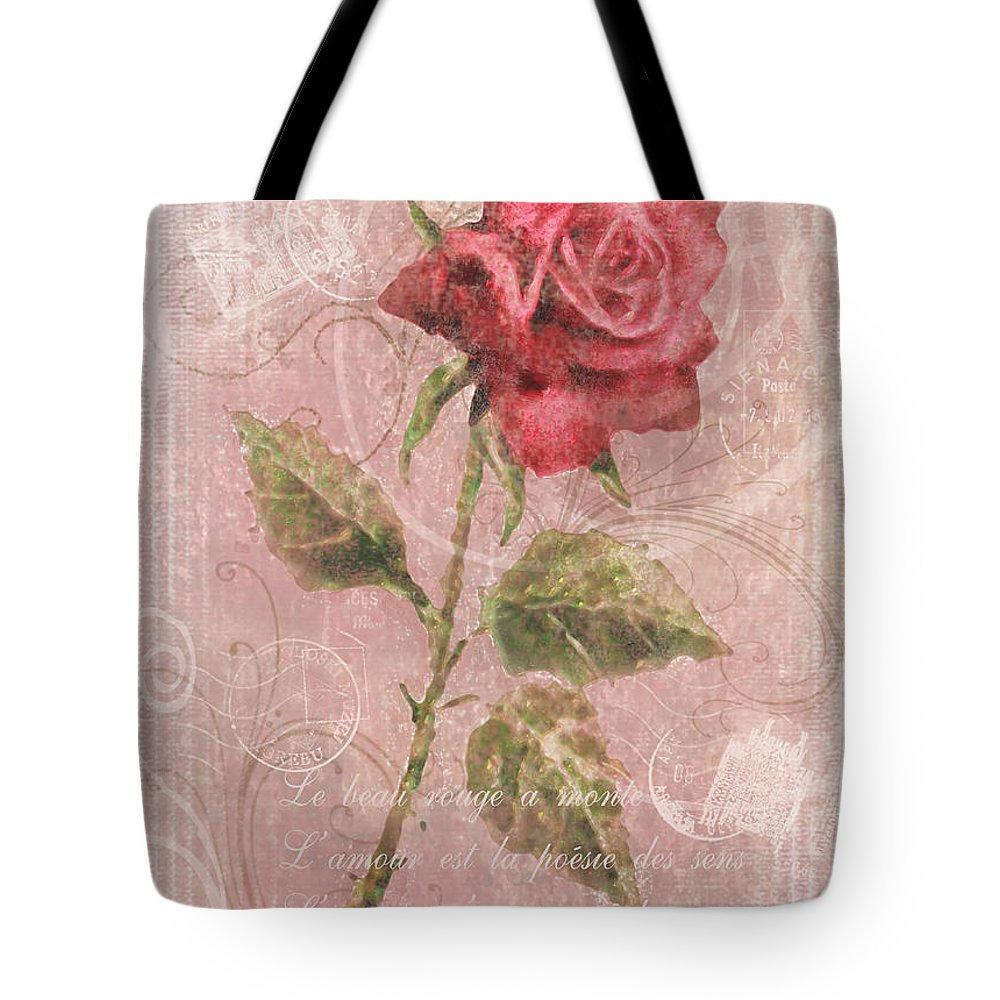Rose Tote Bag featuring the digital art Long Stemmed Rose by Arline Wagner