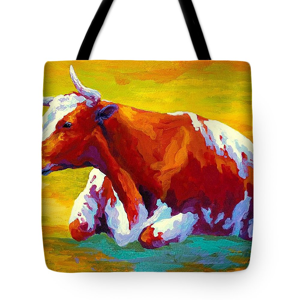 Western Tote Bag featuring the painting Longhorn Cow by Marion Rose