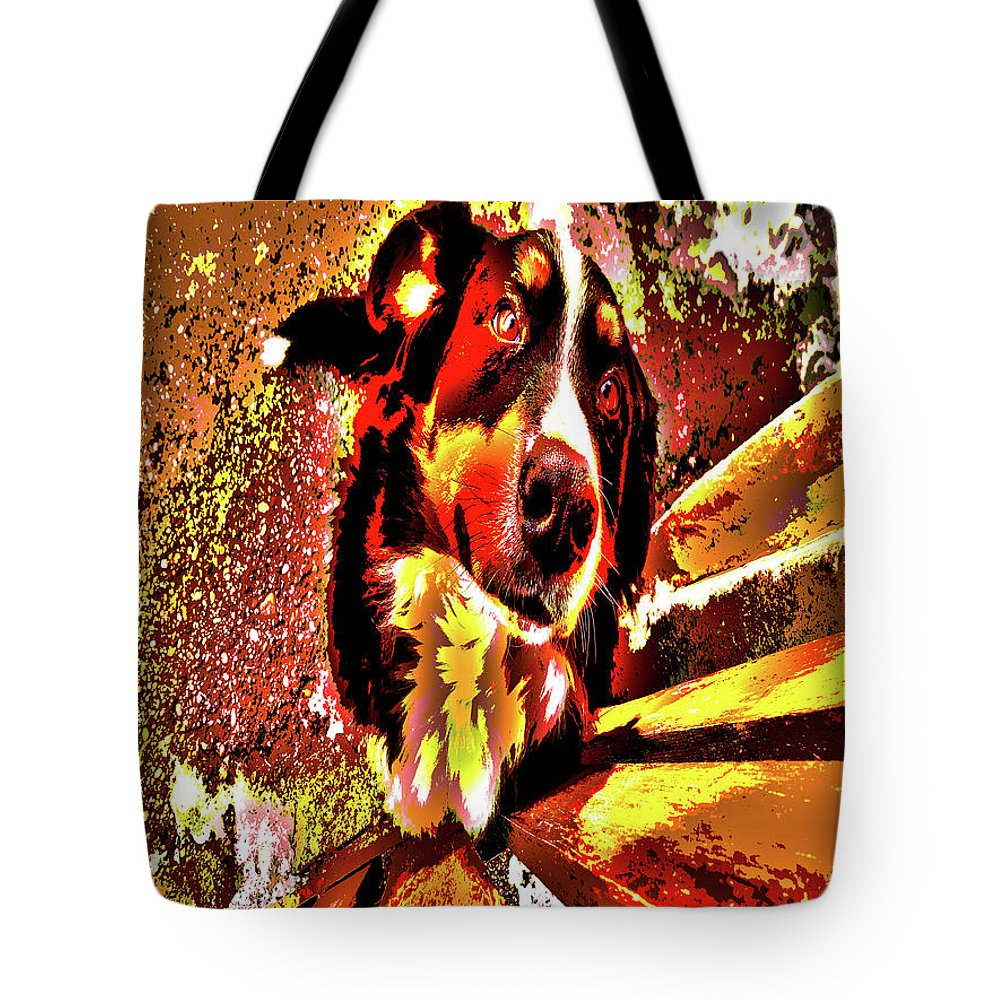Bernese Tote Bag featuring the digital art Lonnie, 2016 Poster Effec 1a by Zsuzsanna Szabo