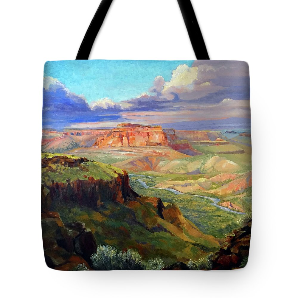 Landscape Tote Bag featuring the painting Look Out At White Rock by Nancy Paris Pruden