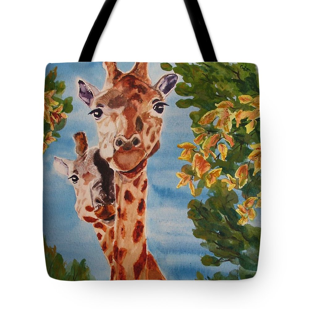 Giraffes Tote Bag featuring the painting Lookin Back by Karen Ilari