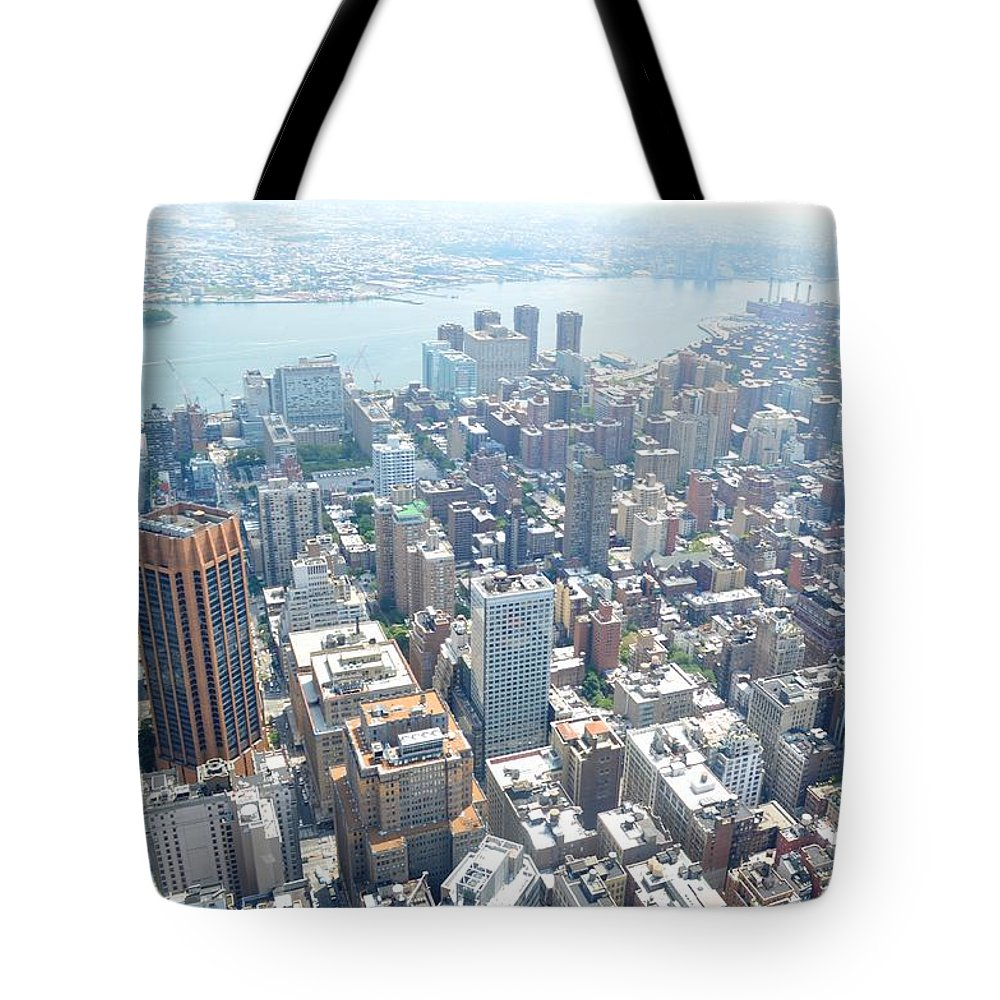 New York City Tote Bag featuring the photograph Looking Down At New York 2015 by Vaughn Berkeley