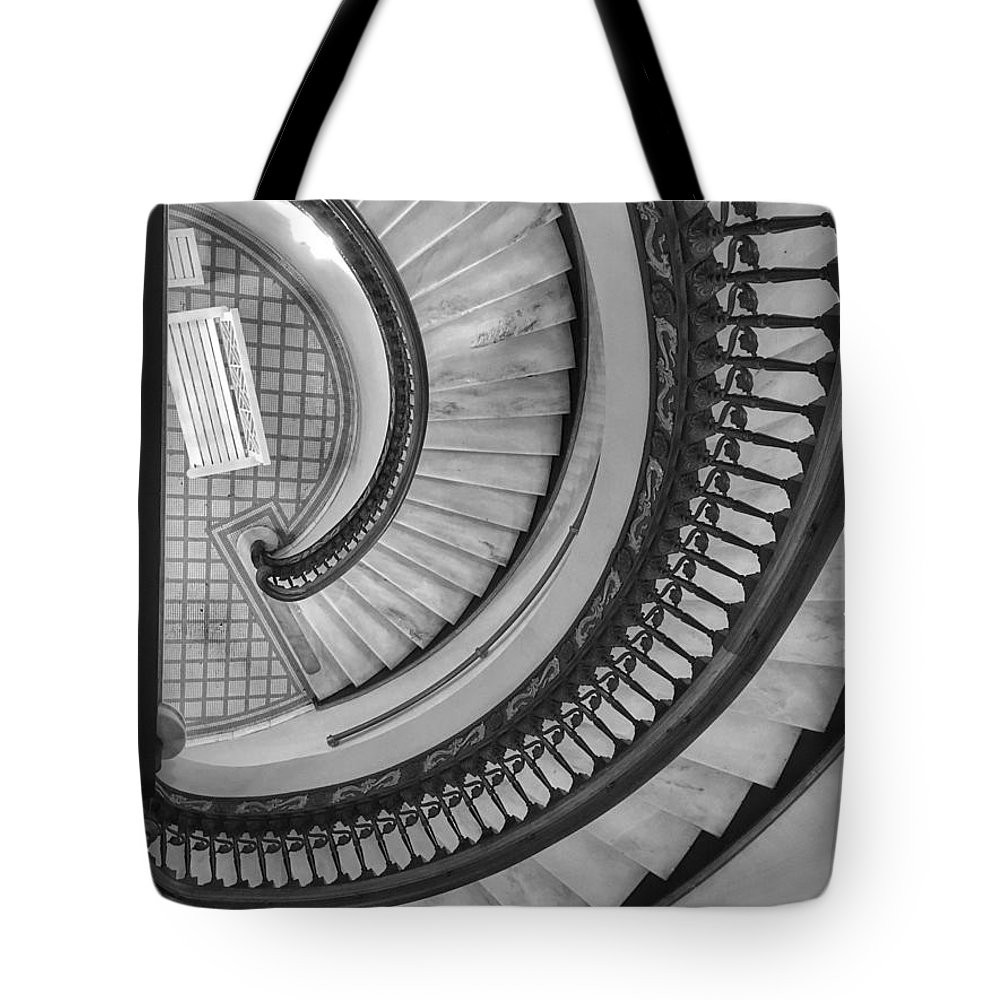 Staircase Tote Bag featuring the photograph Looking Down by Doris Aguirre