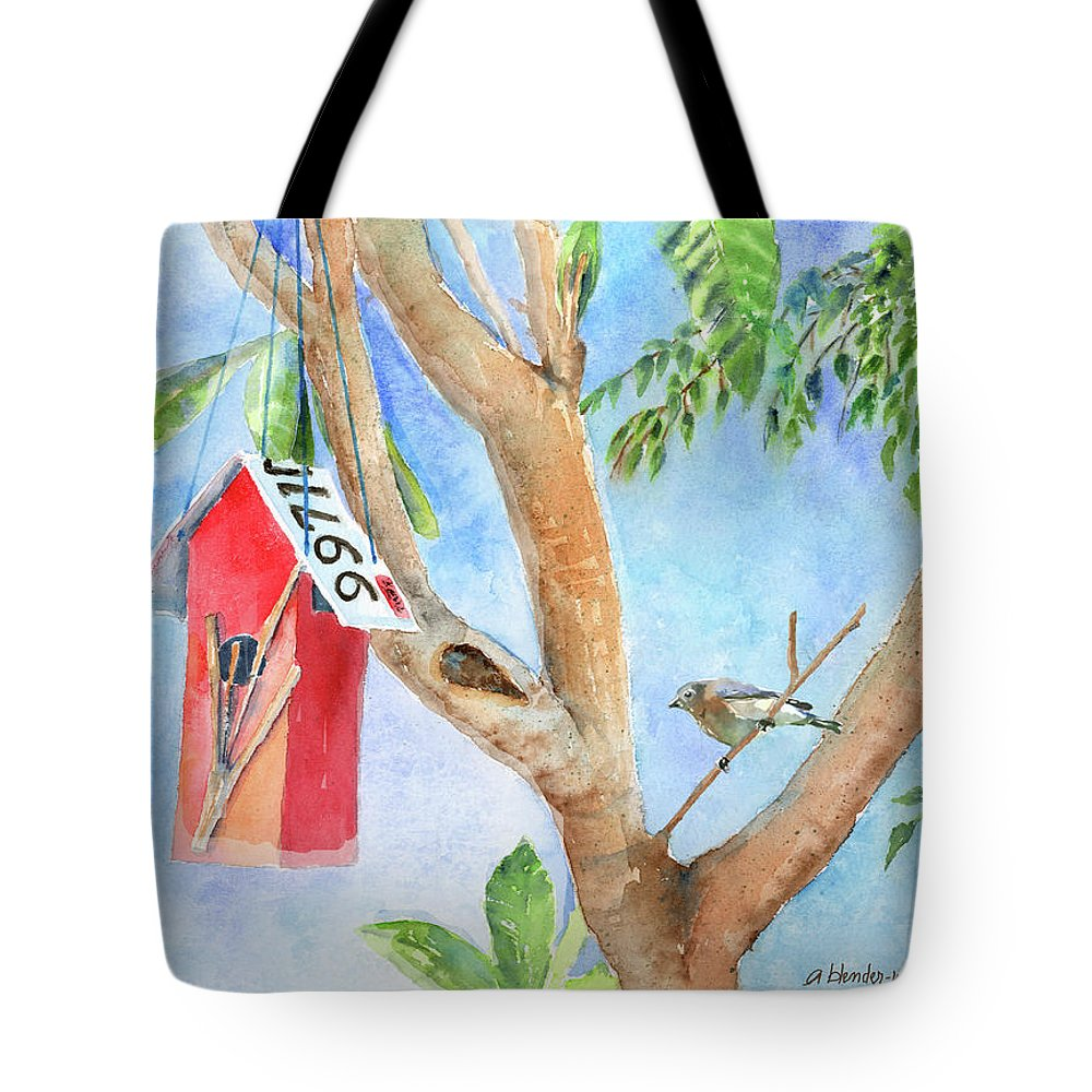 Birdhouse Tote Bag featuring the painting Looking For A Home by Arline Wagner