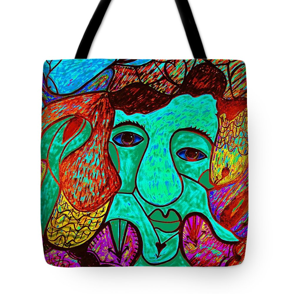 Man Tote Bag featuring the painting Looking For Love by Natalie Holland