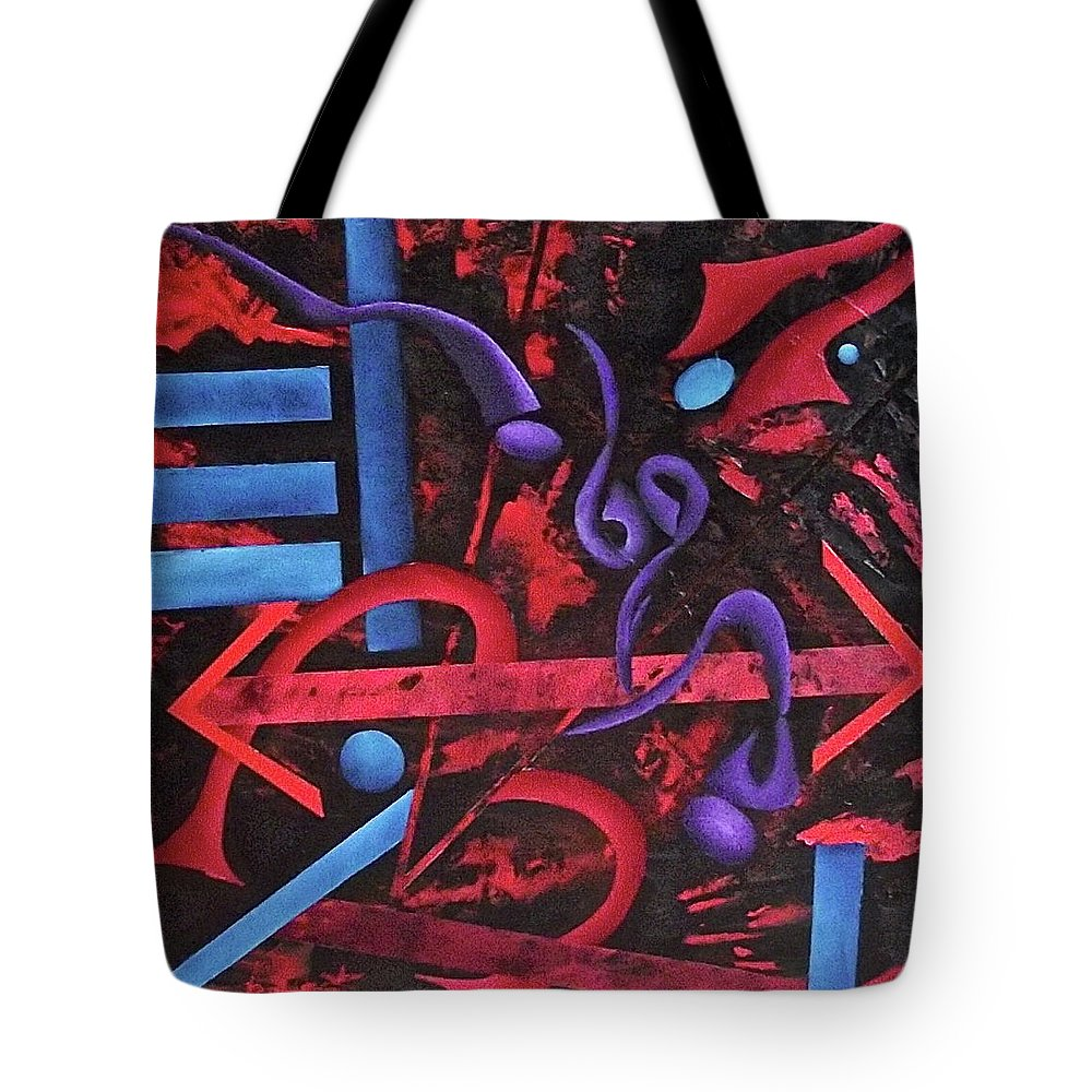 Tote Bag featuring the painting Looking for meaning by Ara Elena