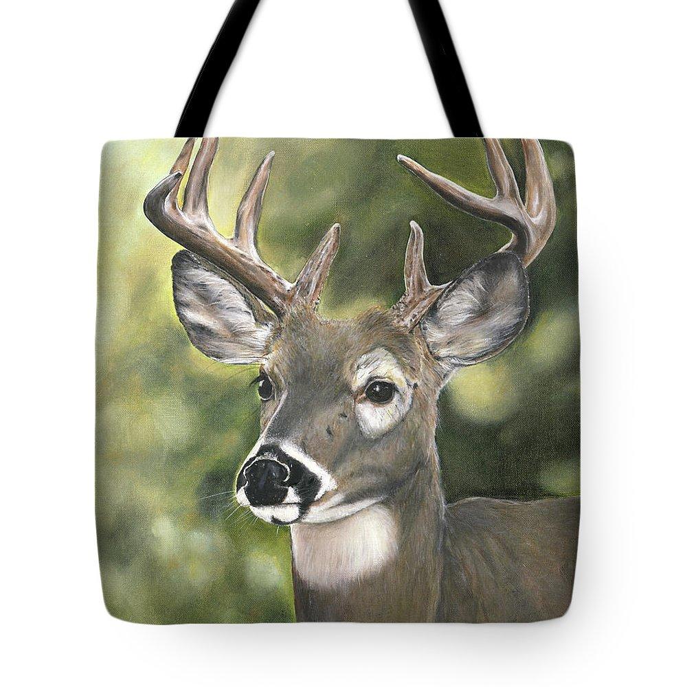 Deer Tote Bag featuring the painting Looking Forward by Lisa Dickson
