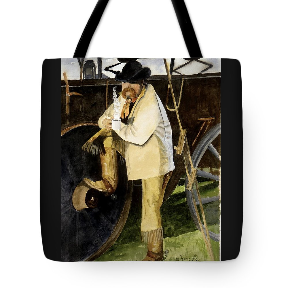 Cowboy Tote Bag featuring the painting Looking The Morning Straight In The Eye by Joe Prater