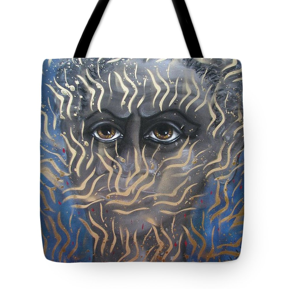 Man Tote Bag featuring the painting Looking Through Fire by Joan Stratton