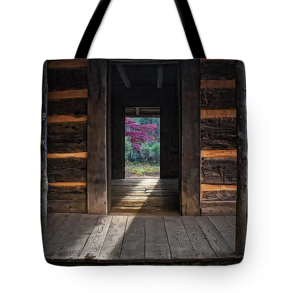 Looking Through John Oliver's Cabin Tote Bag featuring the photograph Looking Through John Oliver's Cabin by Priscilla Burgers