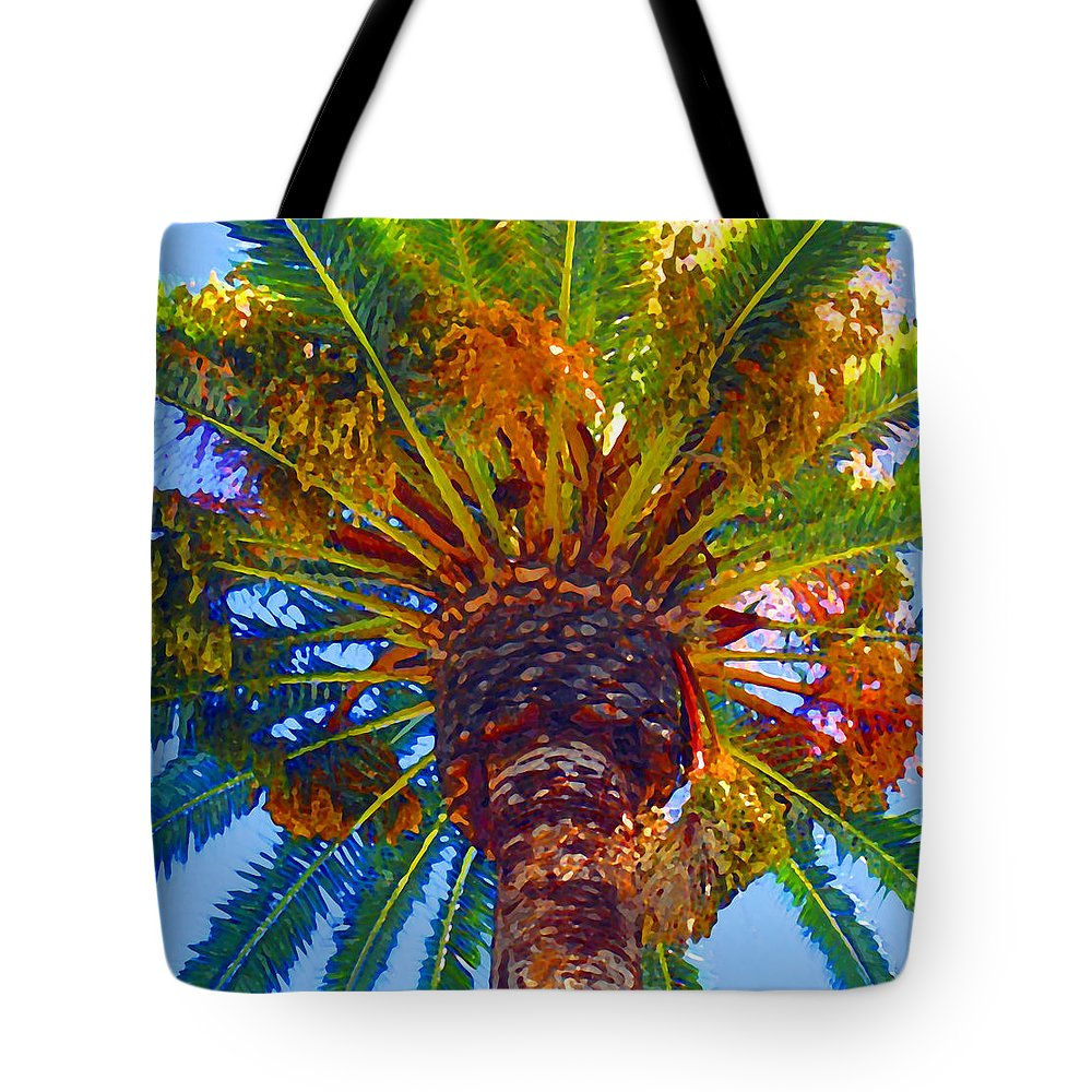 Garden Tote Bag featuring the painting Looking Up At Palm Tree by Amy Vangsgard