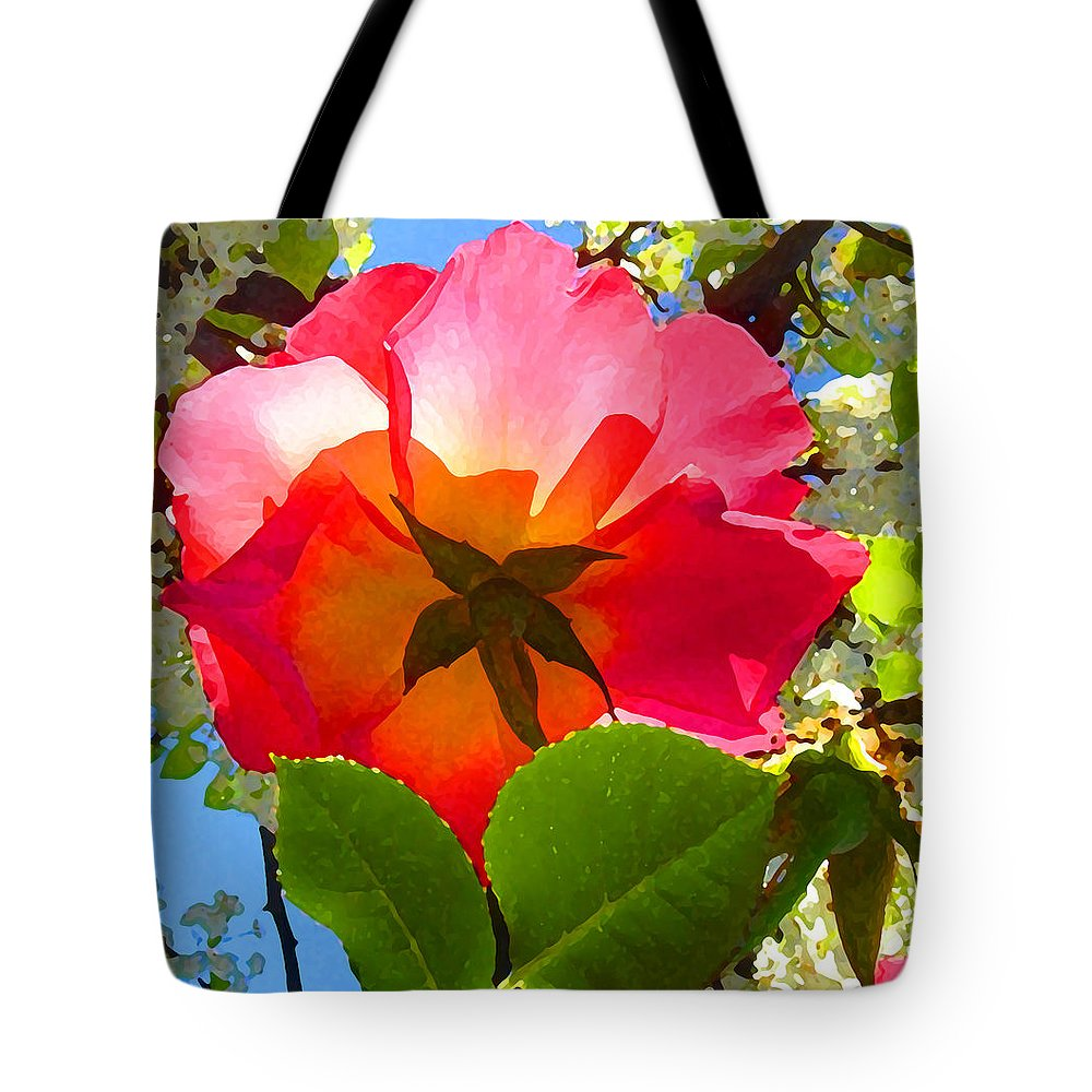 Roses Tote Bag featuring the photograph Looking Up At Rose And Tree by Amy Vangsgard