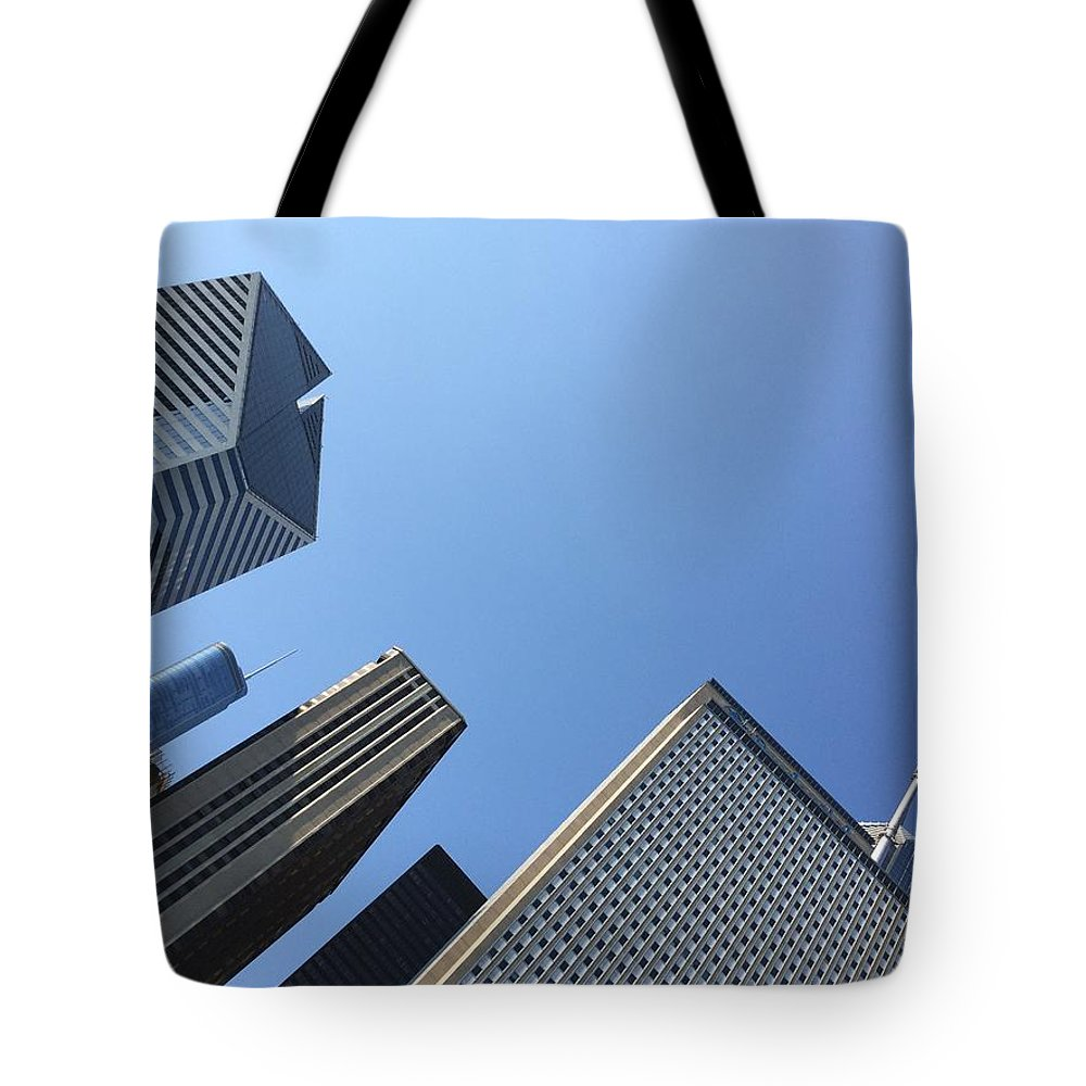 Chicago Tote Bag featuring the photograph Looking Up by Margaret Fronimos