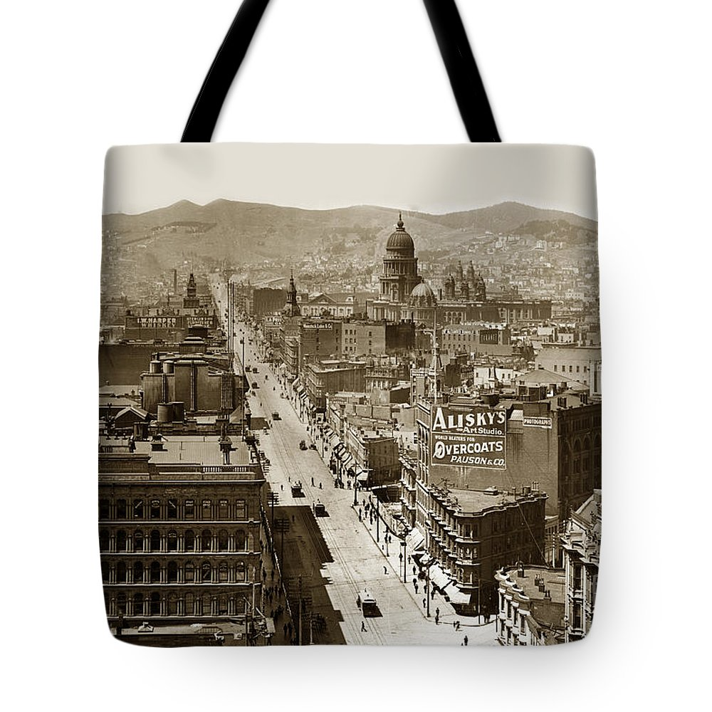San Francisco Tote Bag featuring the photograph Looking Up Market Street From The Call Building With City Hall Circa 1900 by California Views Archives Mr Pat Hathaway Archives
