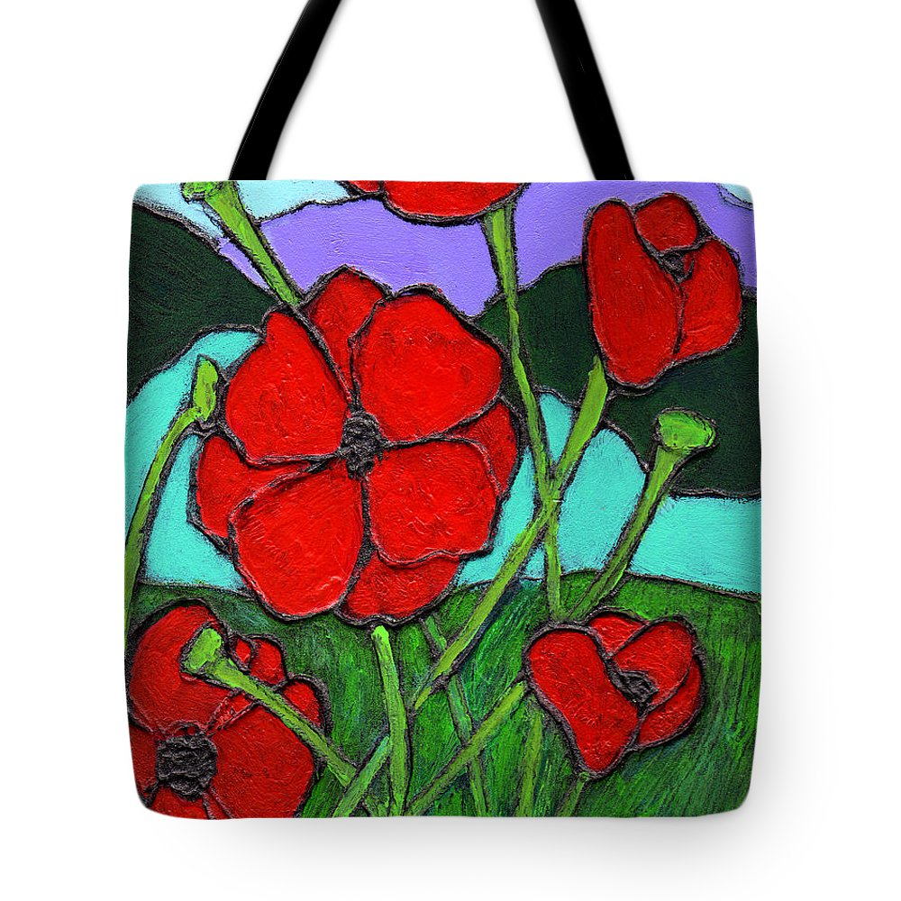 Poppies Tote Bag featuring the painting Looking Up by Wayne Potrafka