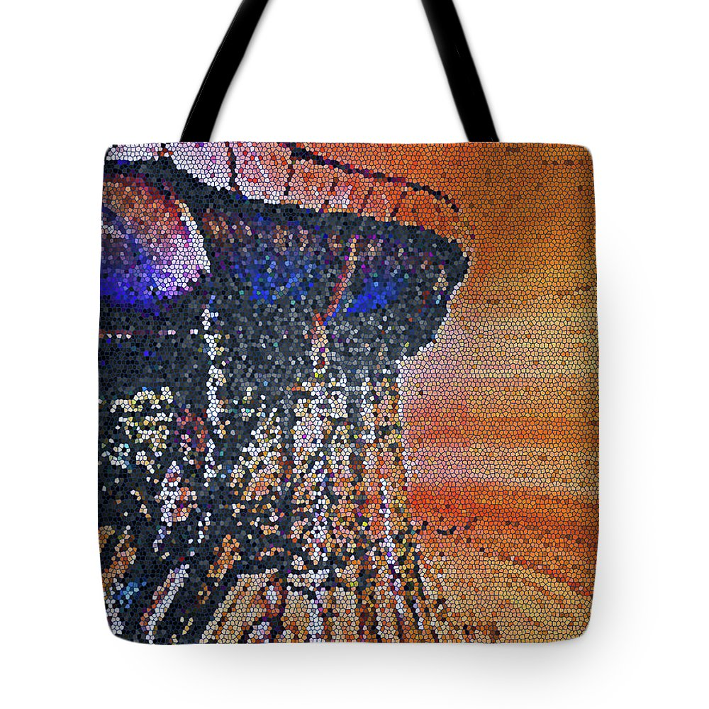 Abstract Tote Bag featuring the digital art Lookout Point by Lenore Senior