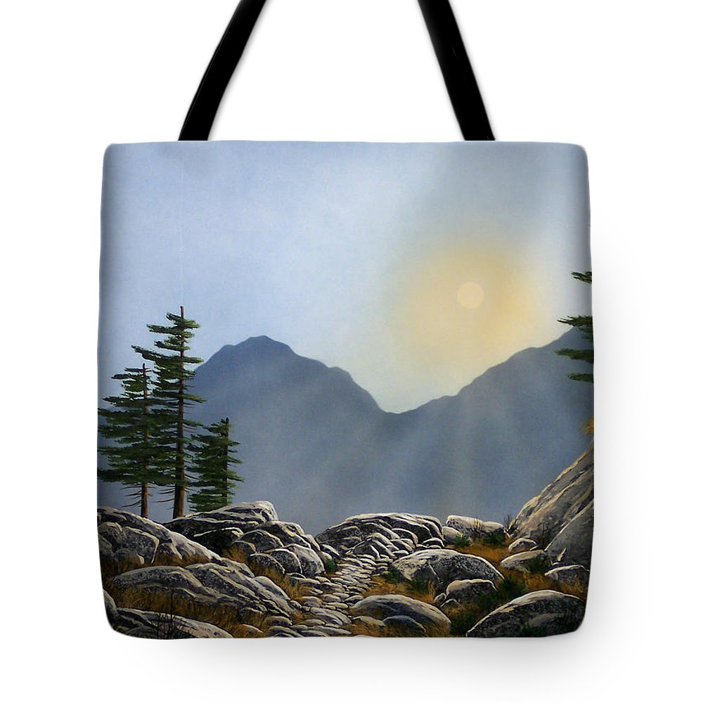 Landscape Tote Bag featuring the painting Lookout Rock by Frank Wilson