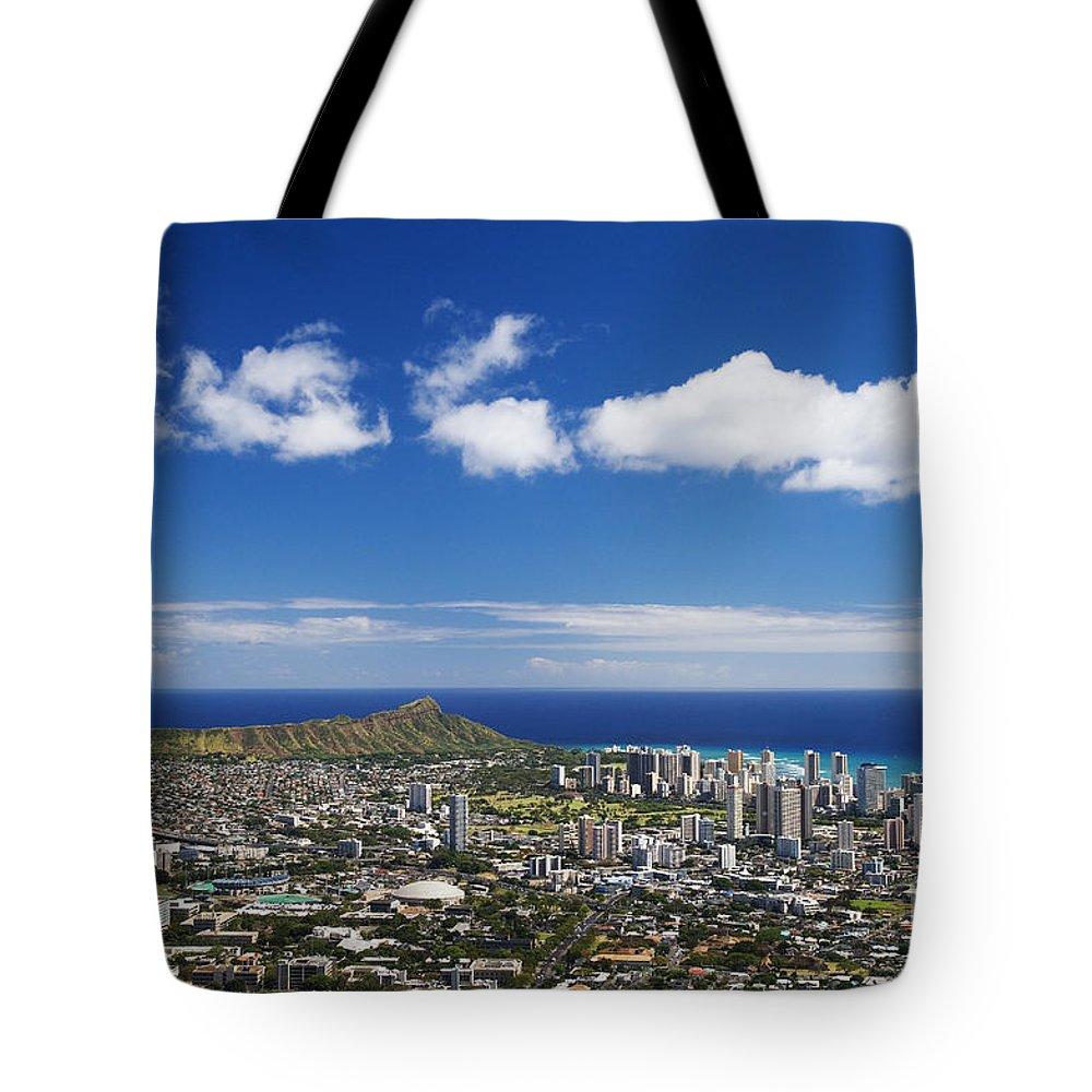 Above Tote Bag featuring the photograph Lookout View Of Honolulu by Greg Vaughn - Printscapes