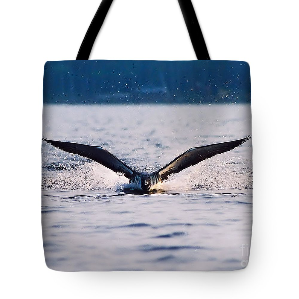 Common Loon Tote Bag featuring the photograph Loon Take Off Aborted by Sandra Huston