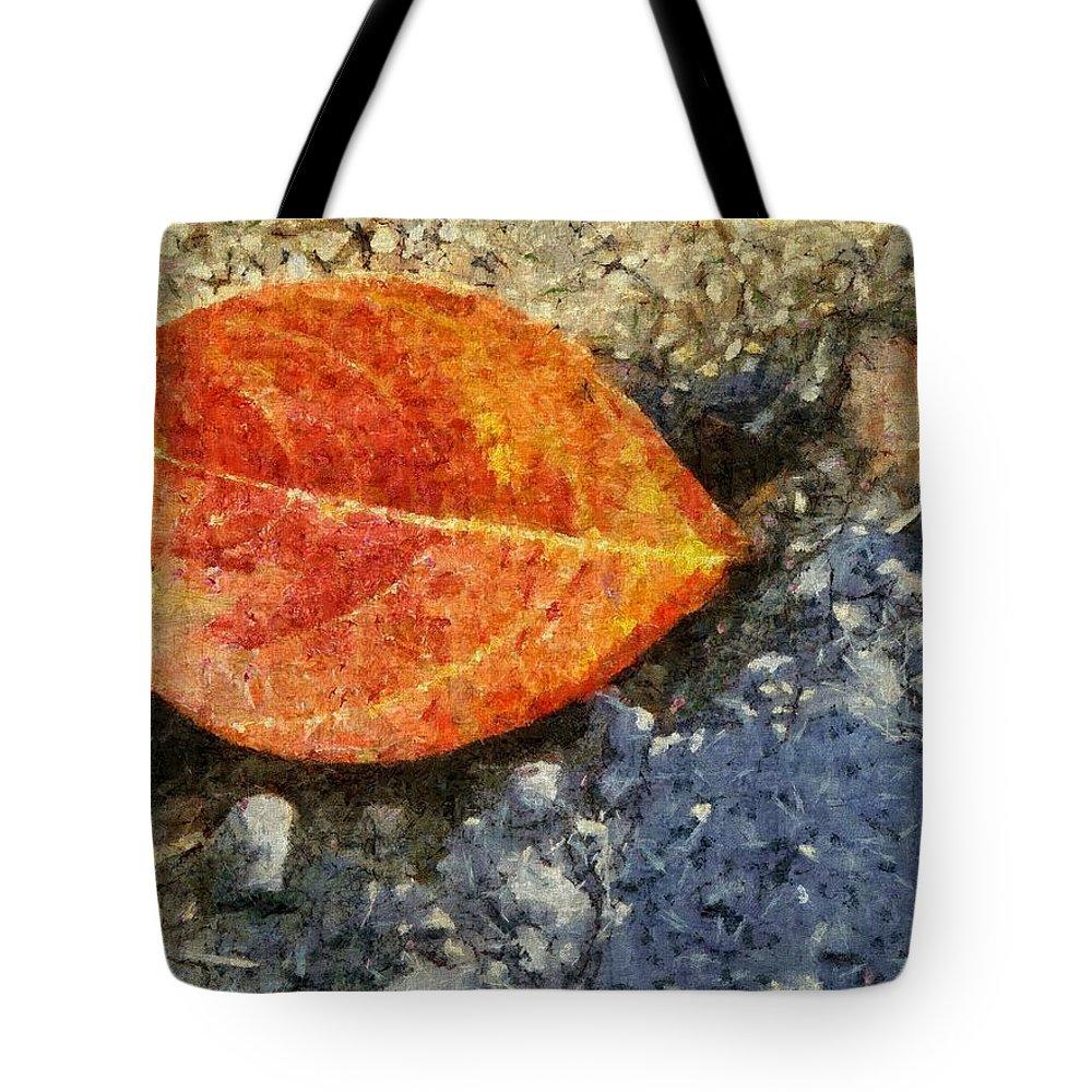 Asphalt Tote Bag featuring the painting Loose Leaf by Jeffrey Kolker
