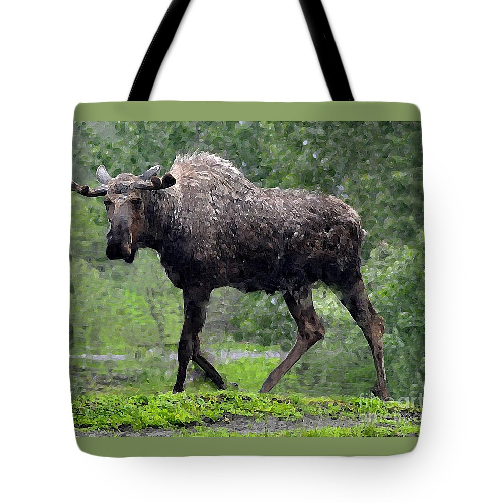 Diane Berry Tote Bag featuring the painting Loose Moose by Diane E Berry