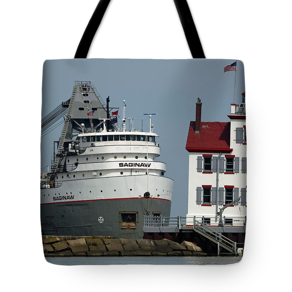Lorain Tote Bag featuring the photograph Lorain Lighthouse/ship by Debbie Parker