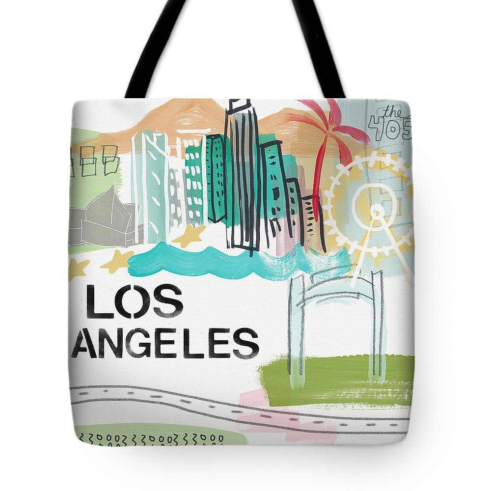 Los Angeles Tote Bag featuring the painting Los Angeles Cityscape- Art by Linda Woods by Linda Woods
