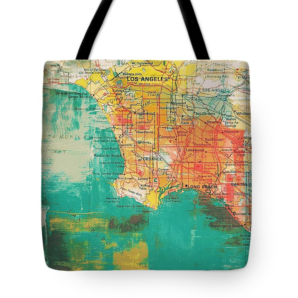 Brandi Fitzgerald Tote Bag featuring the digital art Los Angeles Coast by Brandi Fitzgerald