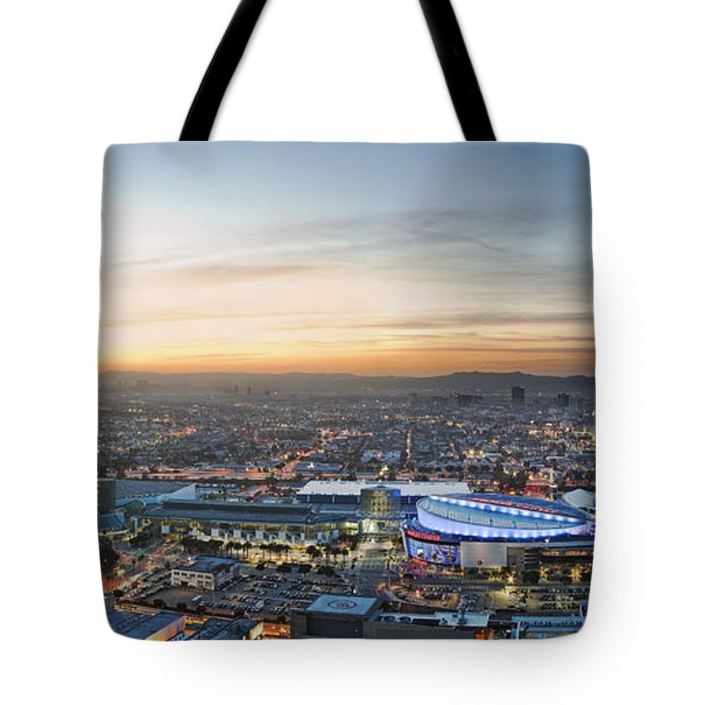 Los Angeles Tote Bag featuring the photograph Los Angeles West View by Kelley King