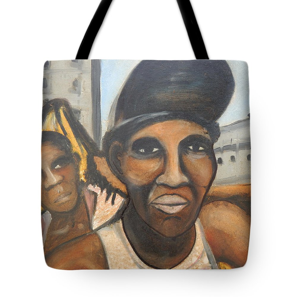 Cuba Tote Bag featuring the painting Los Negros by Jorge Delara