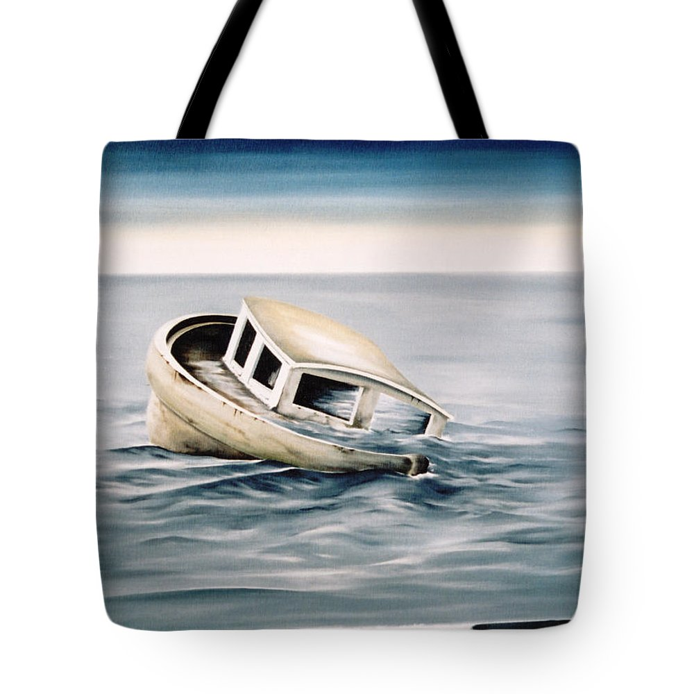 Seascape Tote Bag featuring the painting Lost At Sea Contd by Mark Cawood