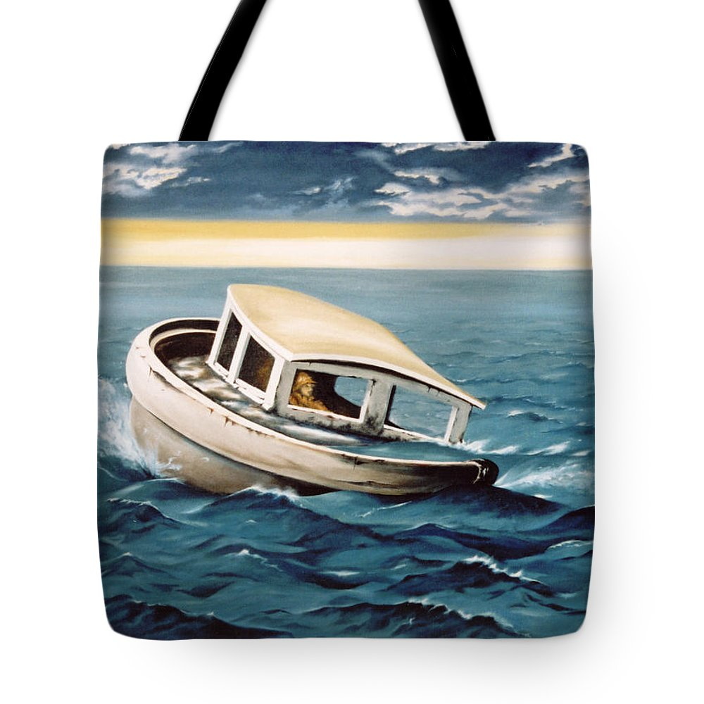 Seascape Tote Bag featuring the painting Lost At Sea by Mark Cawood