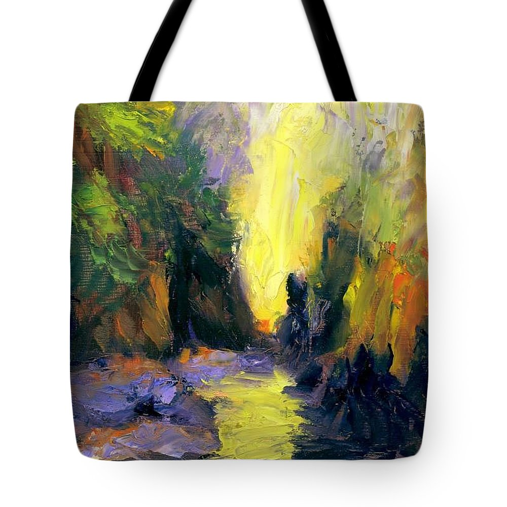 Landscape Tote Bag featuring the painting Lost Creek by Gail Kirtz