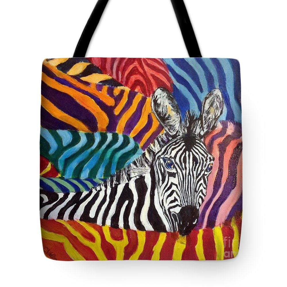Zebra Tote Bag featuring the painting Lost - Fancy Dress Or Dressing Fancy. by Chris Irwin Walker