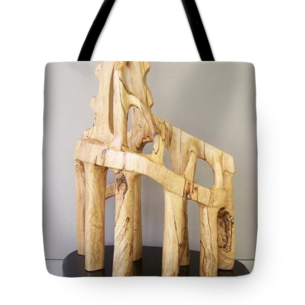Wood-carving-sculpture-abstract- Tote Bag featuring the sculpture Lost Glory by Norbert Bauwens