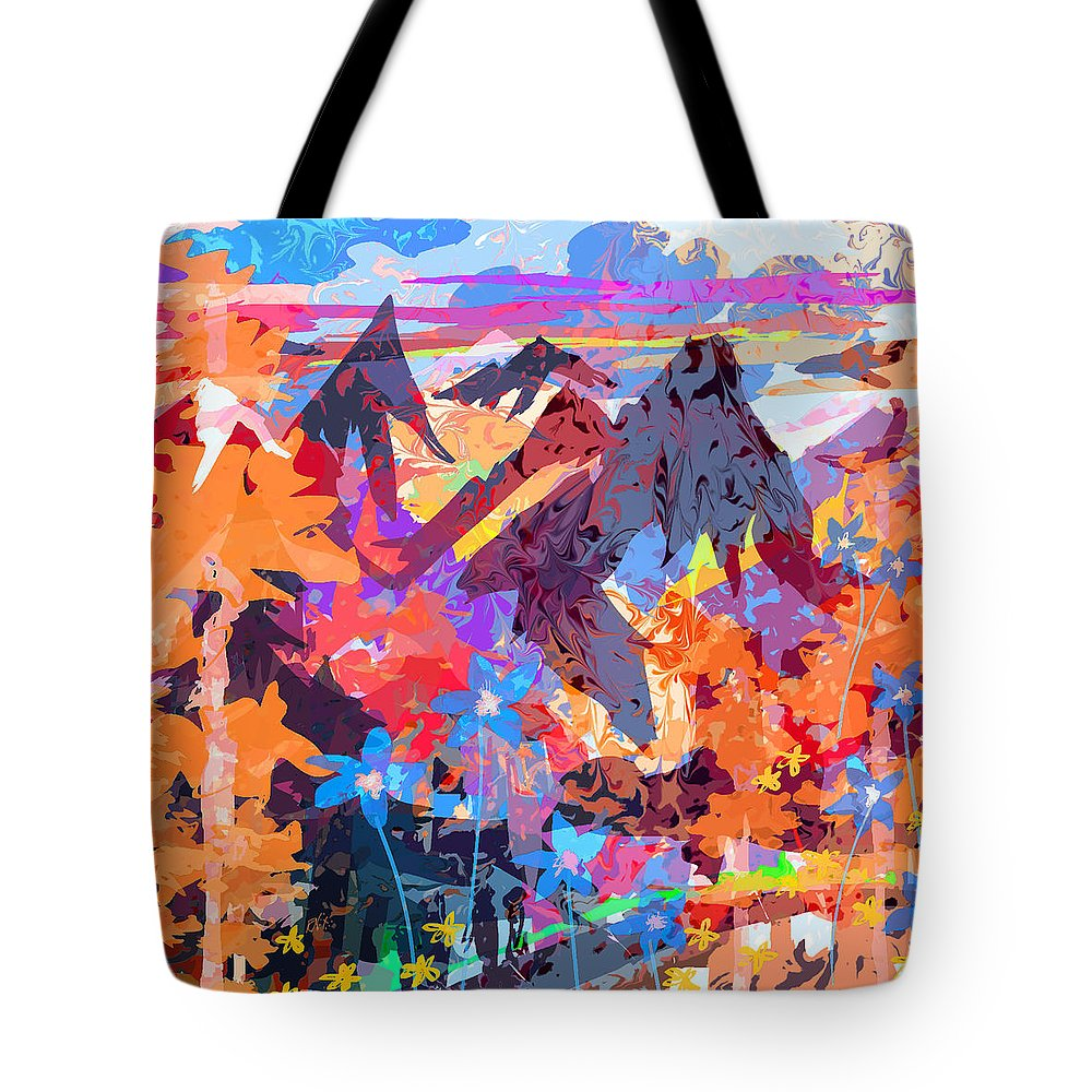Abstract Tote Bag featuring the digital art Lost In Colorado by Rachel Christine Nowicki