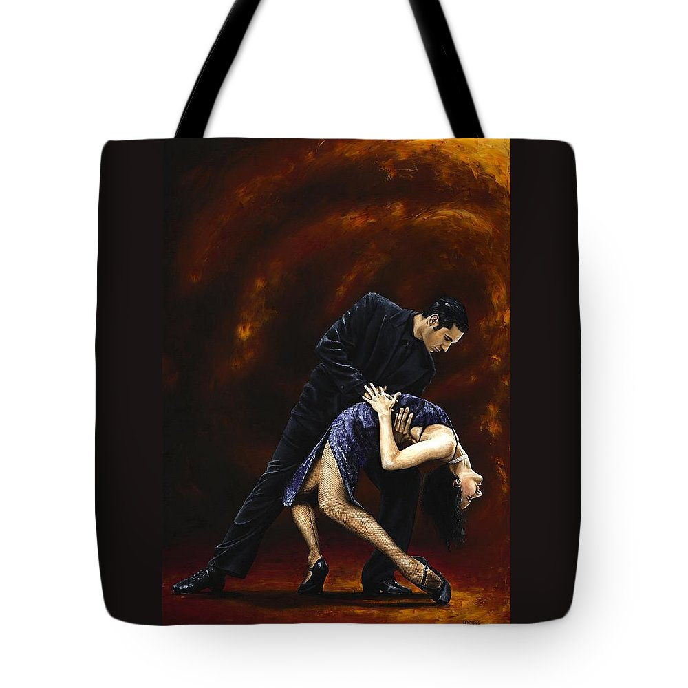 Tango Tote Bag featuring the painting Lost in Tango by Richard Young