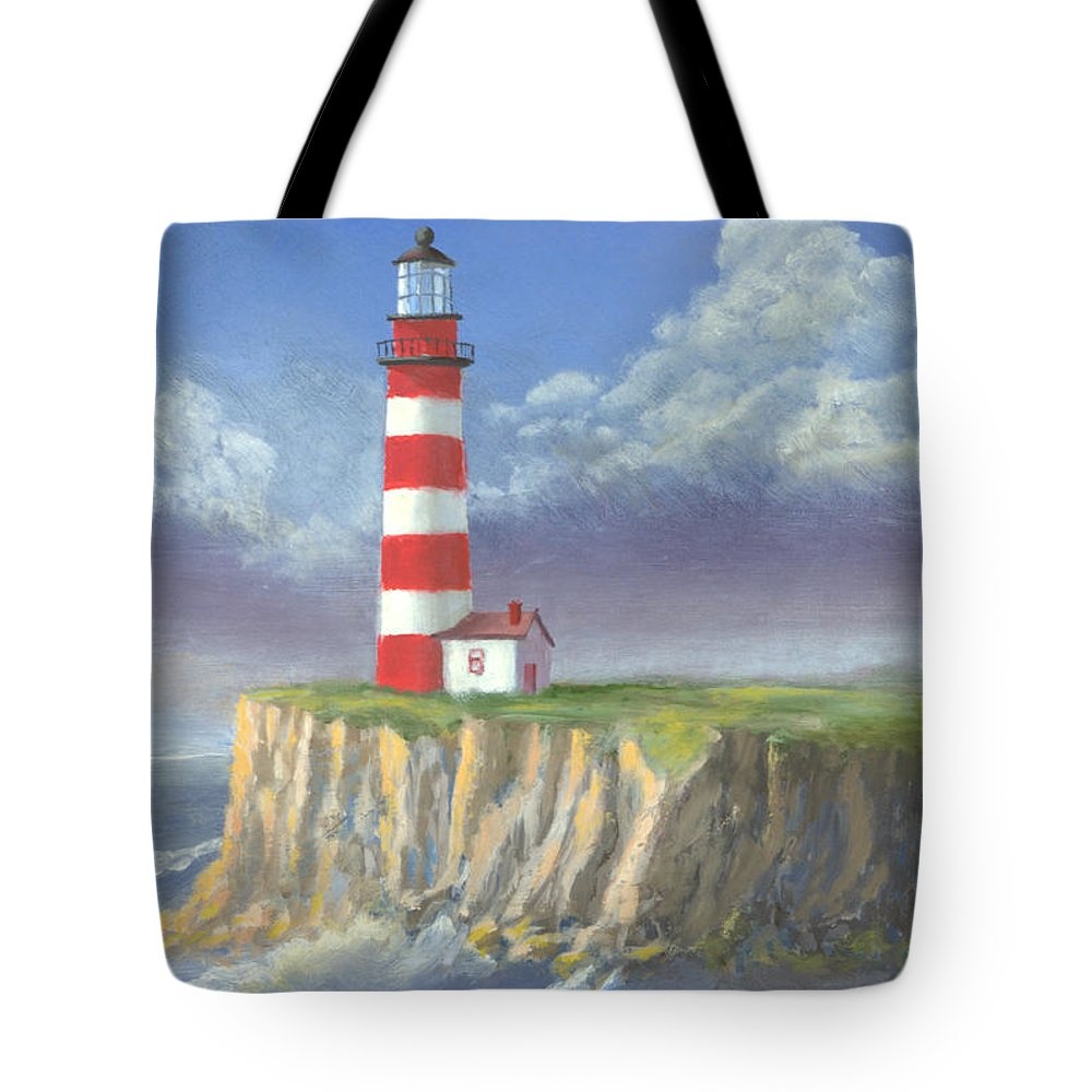 Light Tote Bag featuring the painting Lost Point Light by Jerry McElroy
