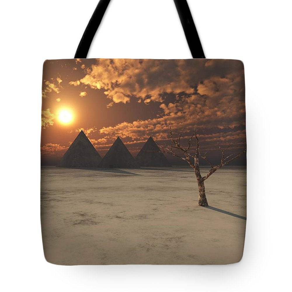 Pyramids Tote Bag featuring the digital art Lost Pyramids by Jay Salton