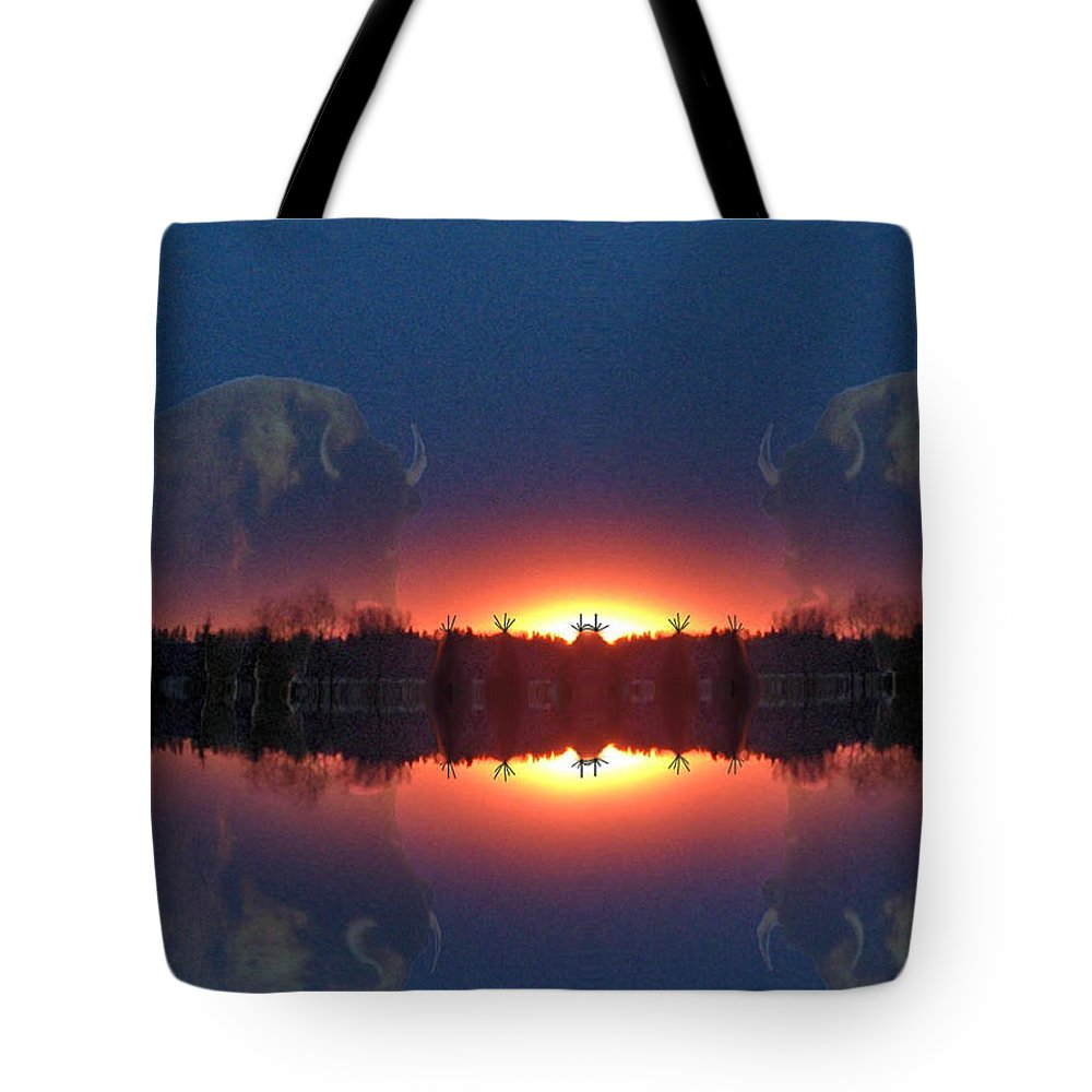 Tee Pee Native Buffalo Bison Lake Water Trees Forest Nature Reflection Lost World Tote Bag featuring the photograph Lost World Reflections by Andrea Lawrence