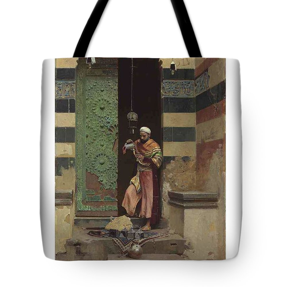 Man Tote Bag featuring the painting Lot 2 Raphael Von Ambros Austrian, 1855-1895 The Lamp Tender by Raphael von Ambros