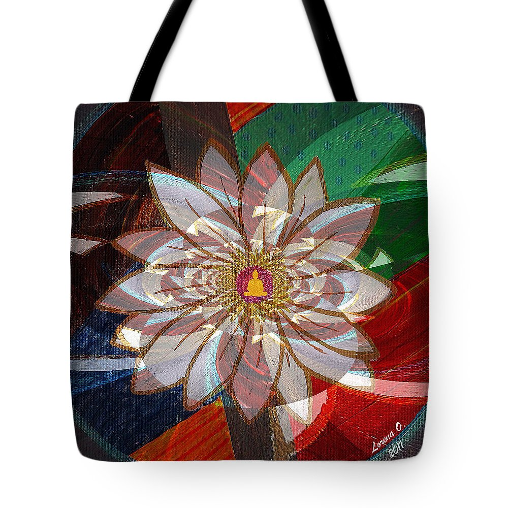 Lottus Tote Bag featuring the painting Lottus Buddha by Lorena Oliver